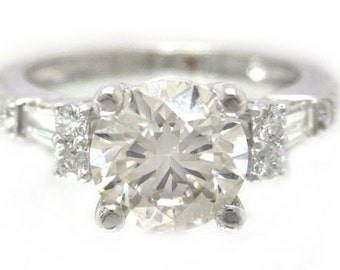 14k white gold round cut and baguette diamond engagement ring 1.90ctw