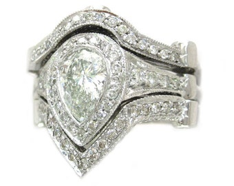 14k white gold pear cut diamond engagement ring and 2 bands bezel set 3.00ctw