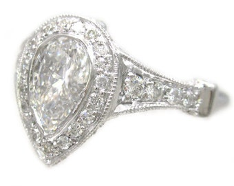 14k white gold pear shape diamond bezel set engagement ring art deco 1.49ctw
