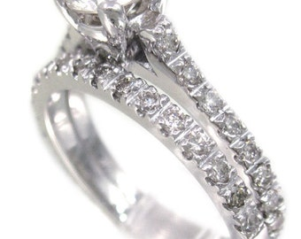 14k white gold round diamond engagement ring and band art deco design 1.35ctw
