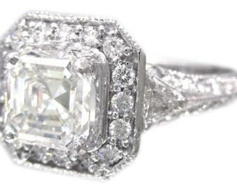 14k white gold asscher cut diamond engagement ring art deco style 1.82ctw