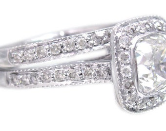 14k white gold cushion cut diamond engagement ring and band bezel set 1.86ctw