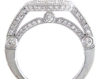 18k white gold round cut diamond engagement ring deco antique style 2.40ctw H-VS2 EGL USA