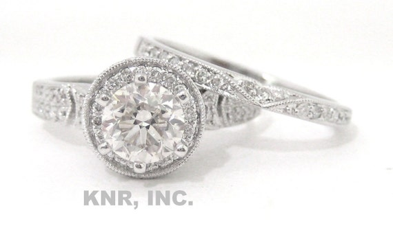 Diamond engagement ring and band 18K 1.67ct antique