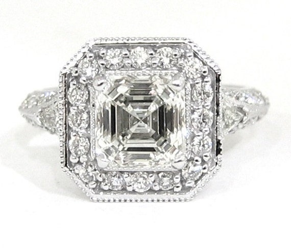 Asscher round and triangle cut diamond ring 2.31ctw