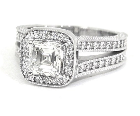 18k white gold Asscher and round cut diamond engagement ring 1.75ctw