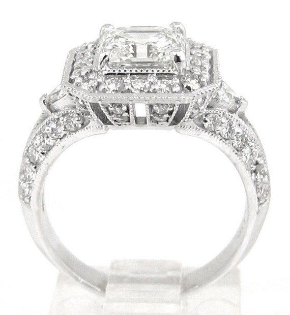 asscher and triangle cut engagement ring 2 59ctw