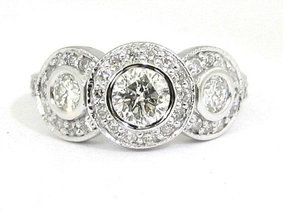 Three stone round cut diamond bezel set engagement ring 1.50ctw