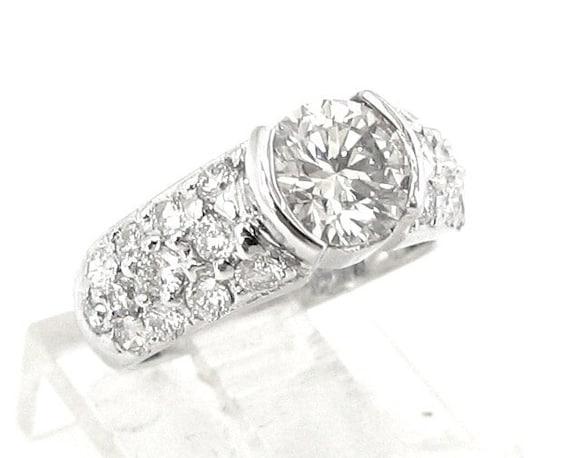 Round diamond engagement ring semi bezel design  2.19ctw