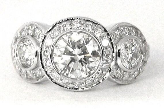 14k white gold round diamond bezel set engagement ring big three stone 2.00ctw