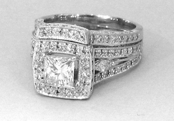 Princess and marquise diamond engagement ring and band  2.25ctw