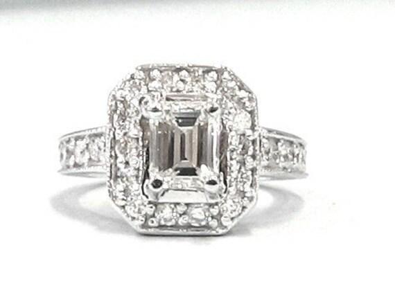 Emerald and round cut diamond engagement ring art deco 1.75ctw