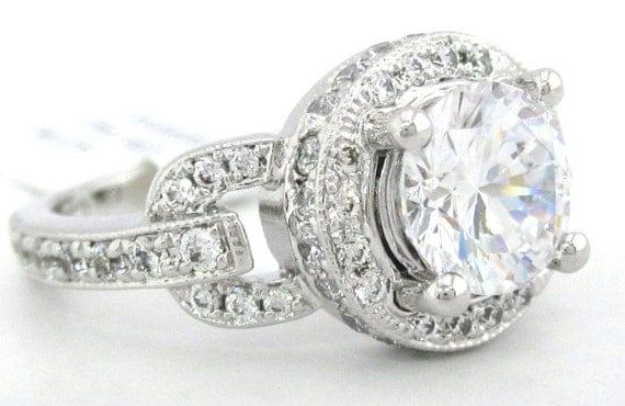 round cut diamond engagement ring 1.95ctw