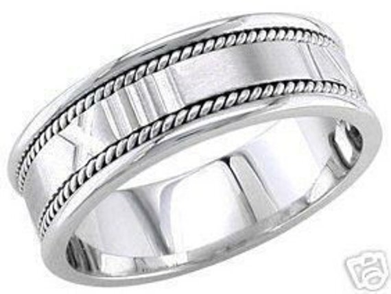 14k white gold mens 8mm roman numerals wedding band