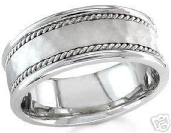 14k white gold mens 7mm hammered and braided wedding band