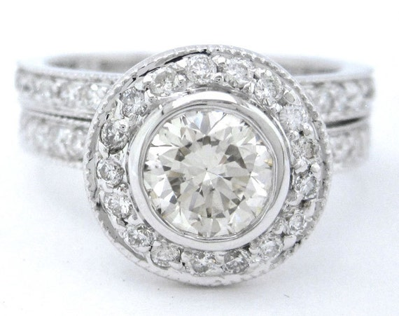 18k white gold round diamond engagement ring and band bezel 1.55ctw