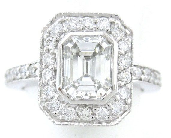 Emerald cut diamond engagement ring art deco 1.60ctw