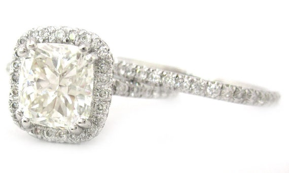 cushion cut engagement ring and band 2 30ctw by knrinc
