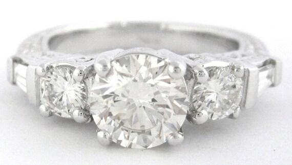 Round cut diamond engagement ring 1.80ctw 18k