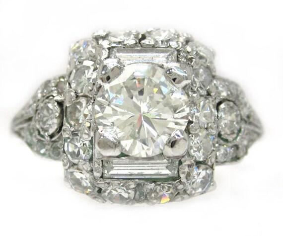 Round cut diamond engagement ring antique style 2.30ctw