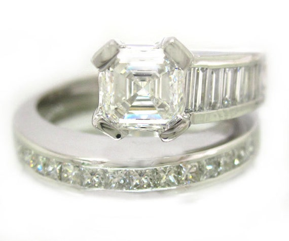 18k princess and baguettes cut engagement ring 2 02ctw