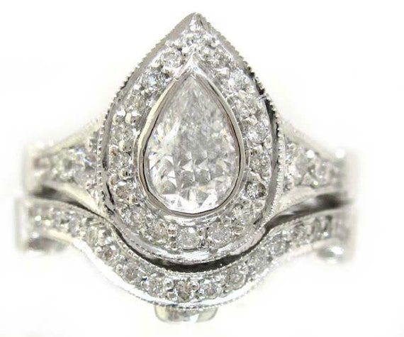 14k white gold pear shape diamond engagement ring and band 1.75ctw