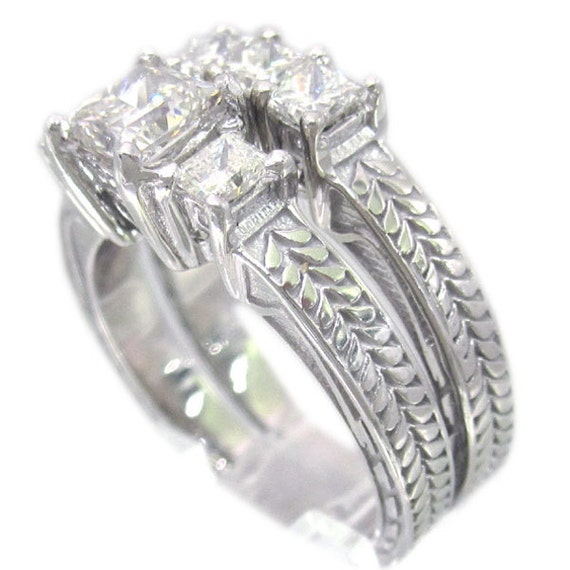 14k white gold princess cut diamond engagement ring and band art deco antique style 1.42ctw