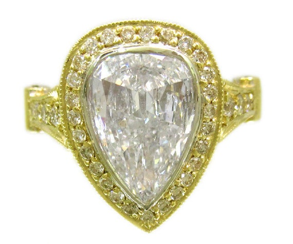 18k yellow gold pear shape and round cut diamond engagement ring beze set art deco 2.96ctw