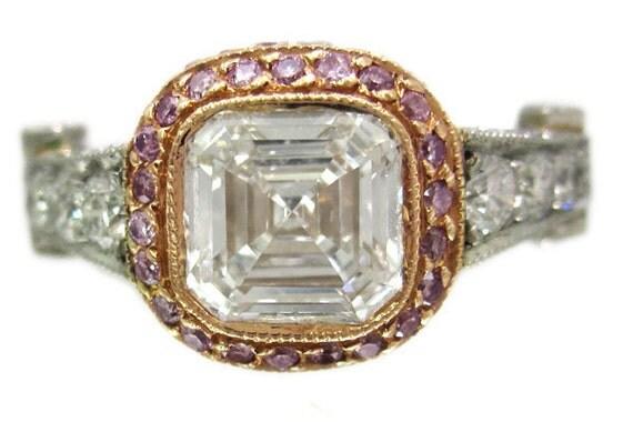 18k white rose gold asscher cut and pink diamond bezel engagement ring 1.94ctw H-VS2 EGL USA