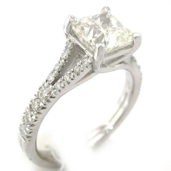 Cushion cut diamond engagement ring split band style 14k white gold 2.00ctw