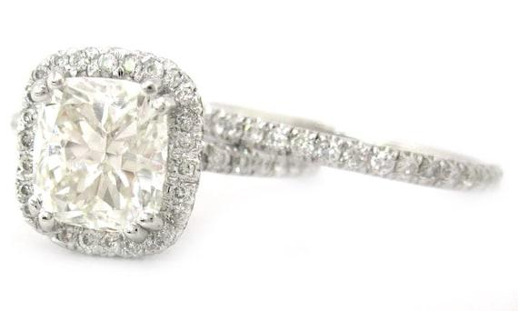 Cushion cut diamond engagement ring and band halo design 14k white gold  2.30ctw