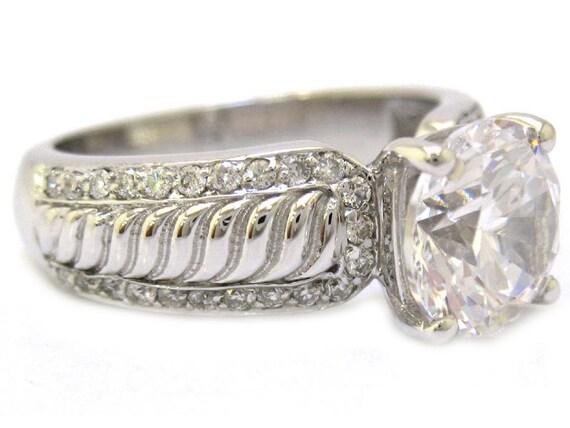 Round cut diamond engagement ring filigree design prong set 2.43ctw