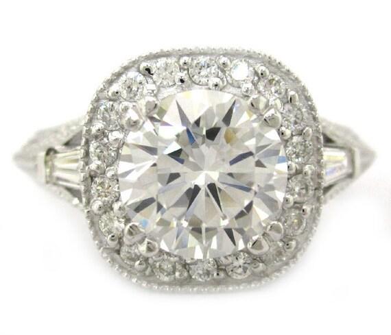 14k white gold round cut diamond engagement ring antique art deco design 2.00ctw