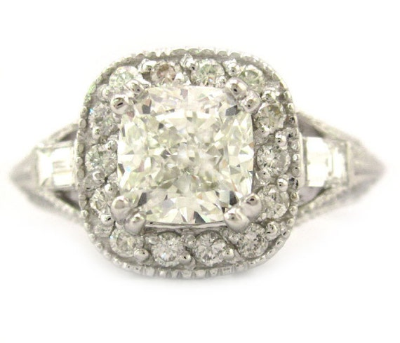 Cushion cut diamond engagement ring antique style 14k by KNRINC