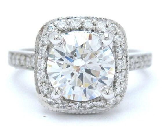 Round cut diamond engagement ring antique style 14k white gold 2.24ctw