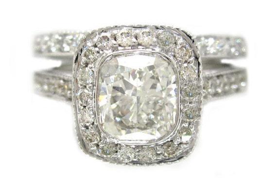 14k white gold cushion cut engagement ring and band bezel set 1.62ctw