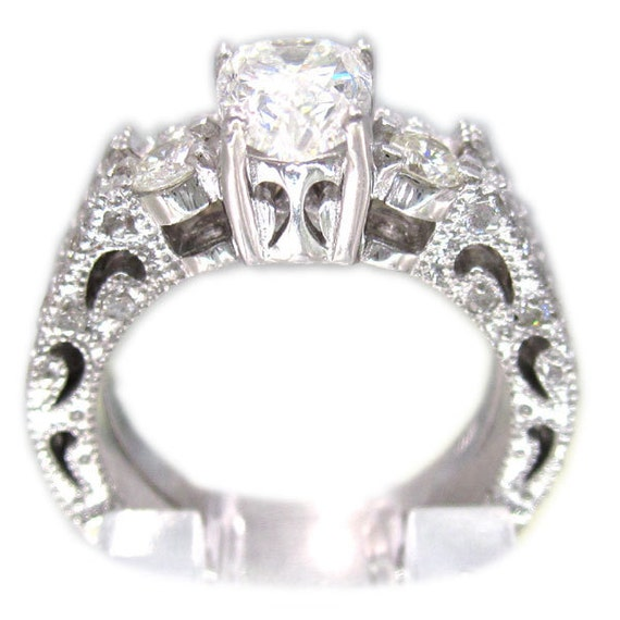 14k white gold pear shape diamond engagement ring and band antique art deco design 1.40ctw