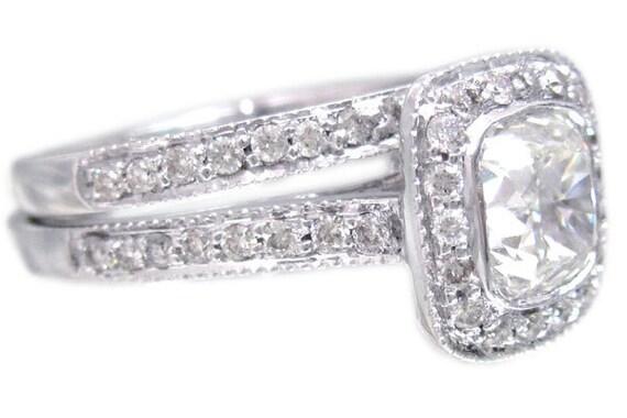 14k white gold cushion cut diamond engagement ring and band bezel set 1.86ctw