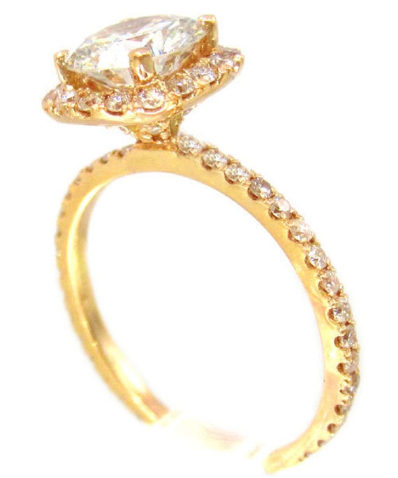 14k rose gold round cut diamond engagement ring prong set style 1.64ctw