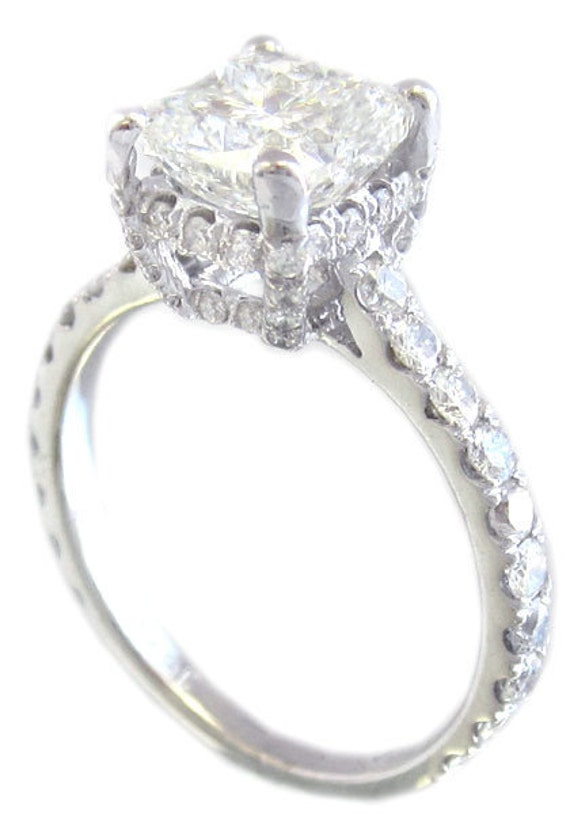 18k white gold cushion cut diamond engagement ring art deco halo prongs 2.25ctw