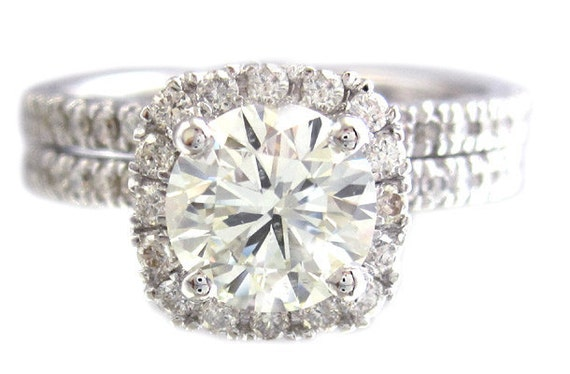 18k white gold round cut forever one moissanite and diamond engagement ring and band 1.85ctw