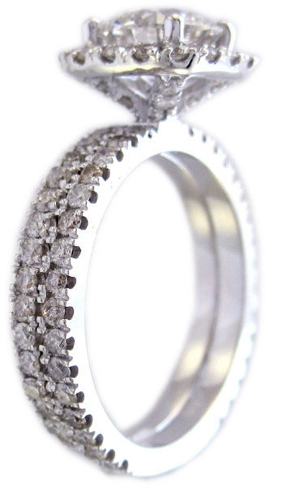 18k white gold round cut diamond engagement ring and band halo prong set 1.65ctw