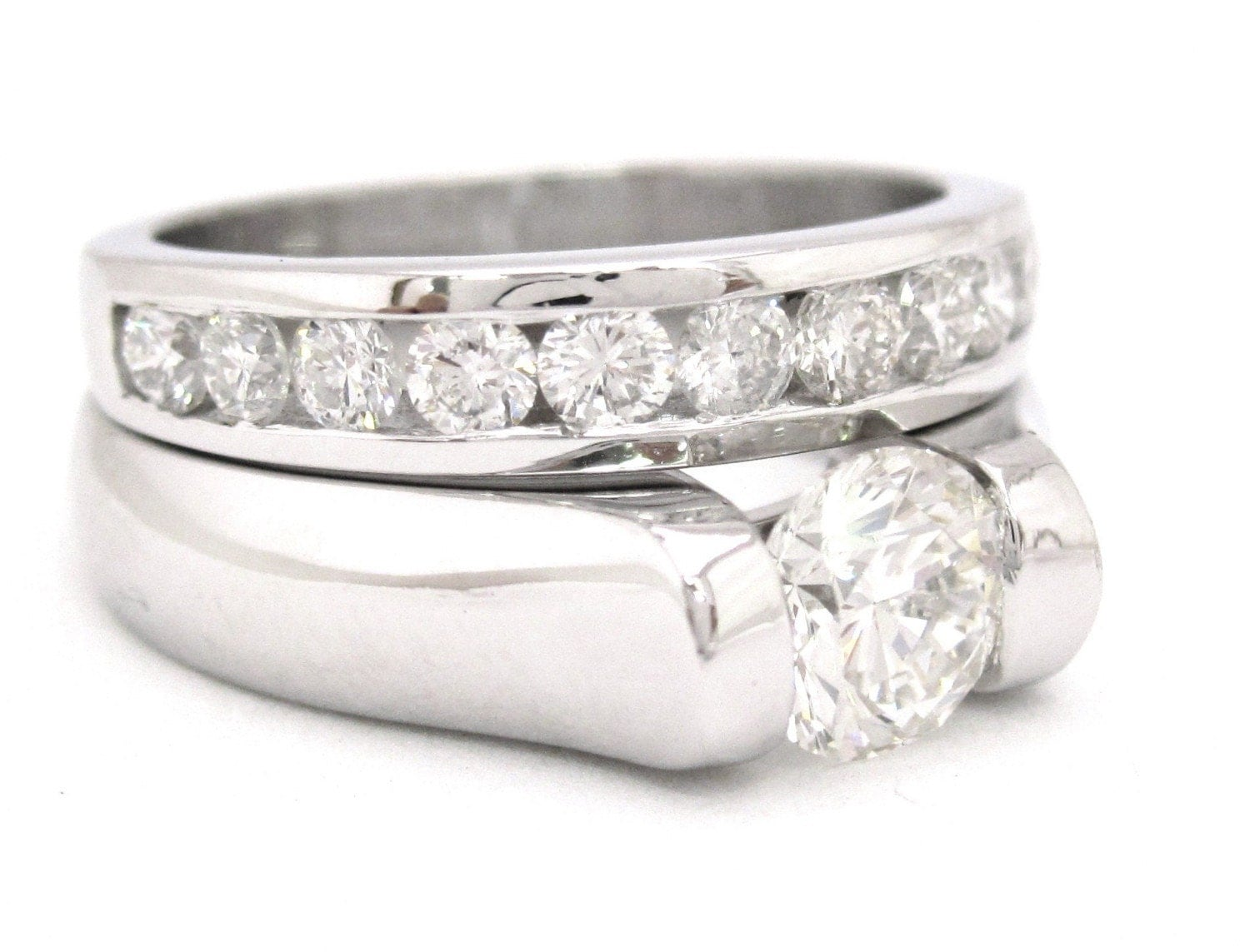 cut engagement ring and band tension set 1 25ctw