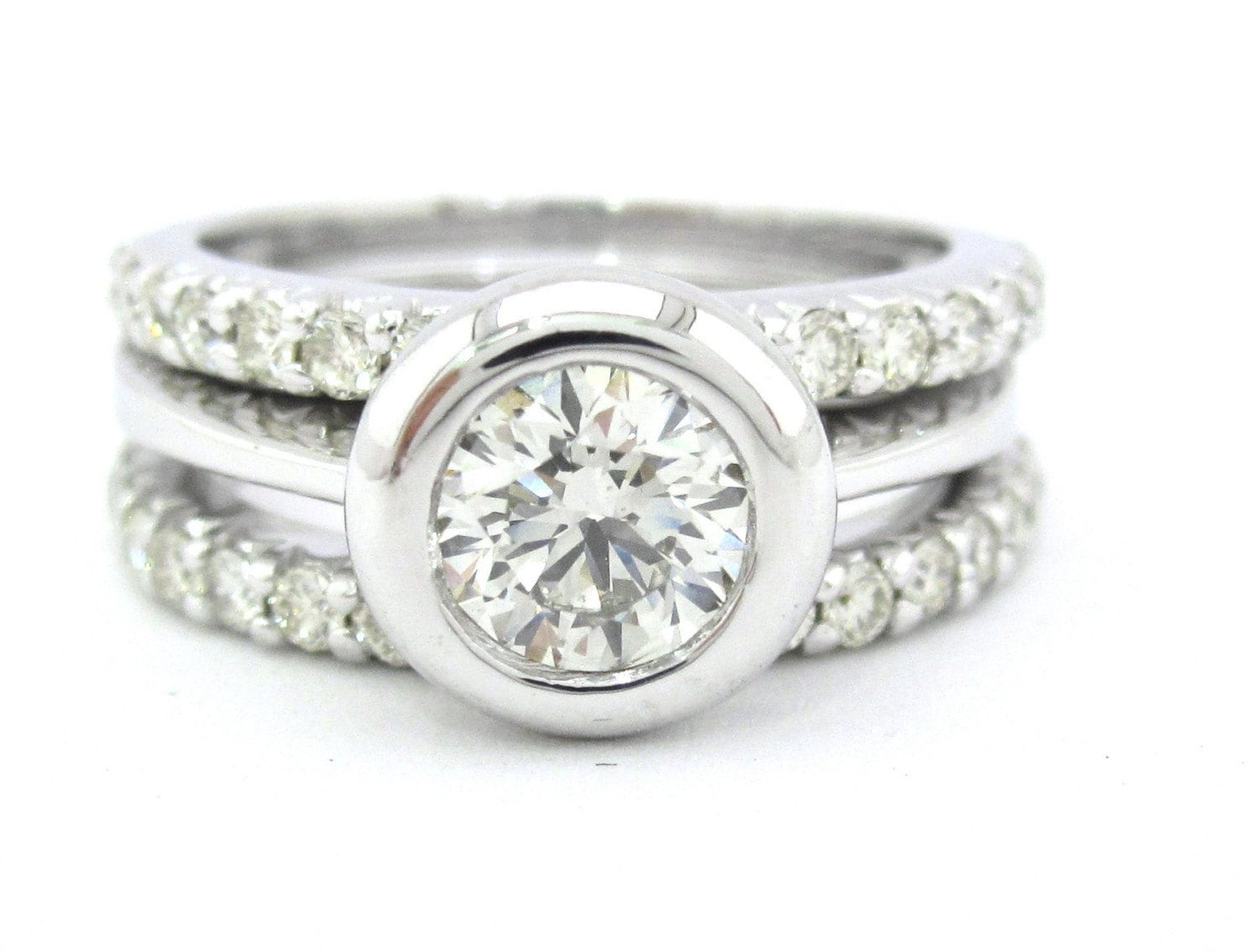 bezel set engagement ring and bands by knrinc