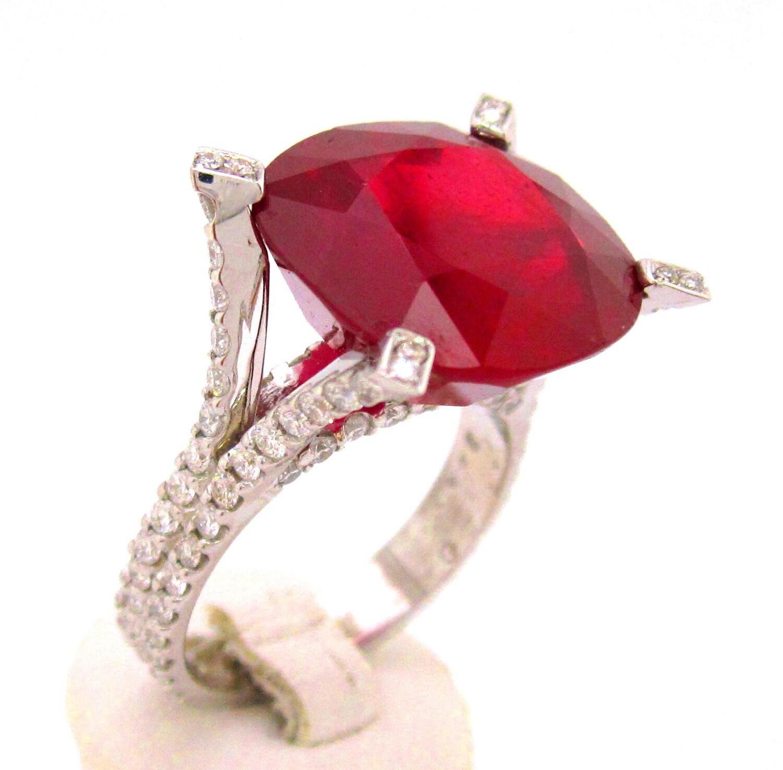 cushion cut ruby and diamond ring micro pave set 14 40ctw 18k