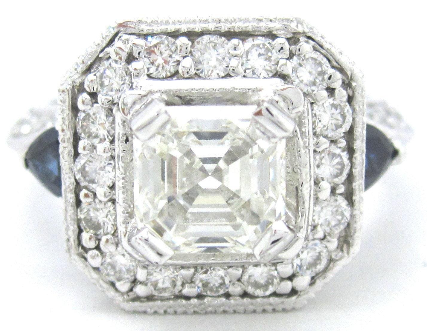 Asscher cut diamond engagement ring 2.00ctw