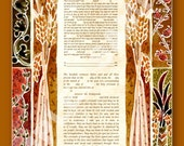CUSTOM KETUBAH - Ketubahs - Wedding Vows - Jewish wedding - Jewish Judaica Art Print - Hebrew English - Seven Species - 7 species warm color