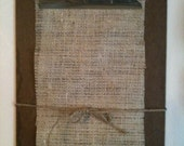 Vintage Wooden Clipboard, burlap, for Photo, Keepsakes