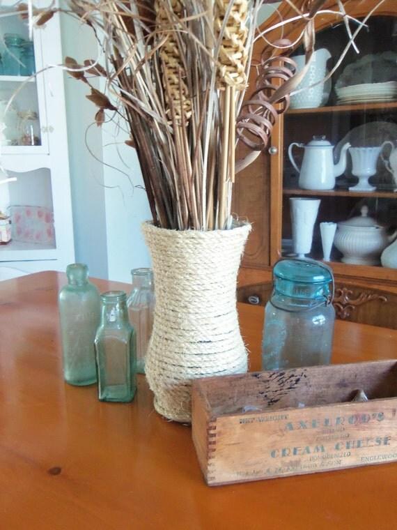 Natural sisal rope nautical coastal decor vase for Sisal decoration