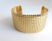 Vintage Whiting & Davis Cuff Bracelet in Gold Tone Mesh Links